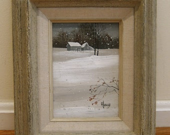 Original Midcentury Painting 1970s Signed Eileen Jones Baltimore Painter MICA Period Frame Linen Liner Lovely Snowy New England Winter Scene