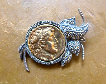 Cameo Coin Brooch Gorgeous Sterling Marcasite Setting Greco Roman Character Love Token Gift Box