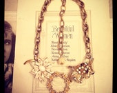 Vintage Flower Enamel Rhinestone Brooch Statement Necklace