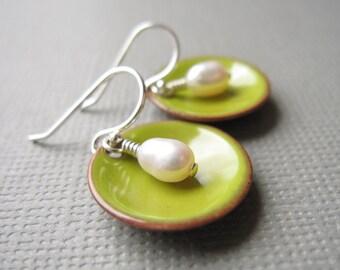 Bitter Green Modern Minimalist Earrings White Pearl