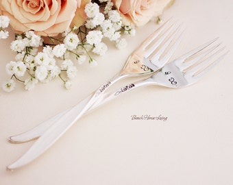 Wedding Fork Set: I Do, I Do Stamped Silverware Wedding Table Setting Contemporary Vintage Modern  Winsome 1959