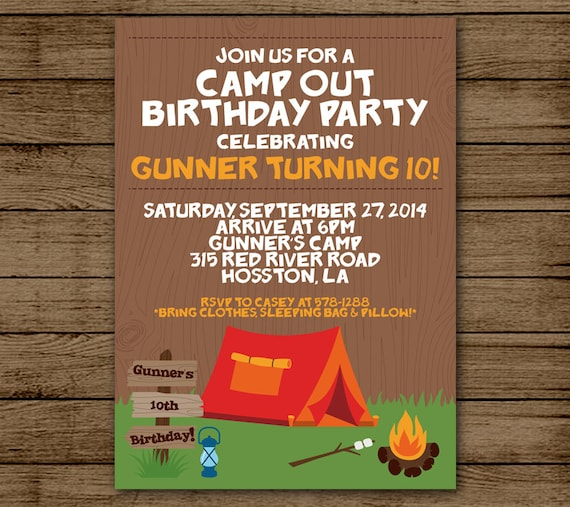Camping Theme Invitations: Camp Out Birthday Invitation Camping Birthday Party