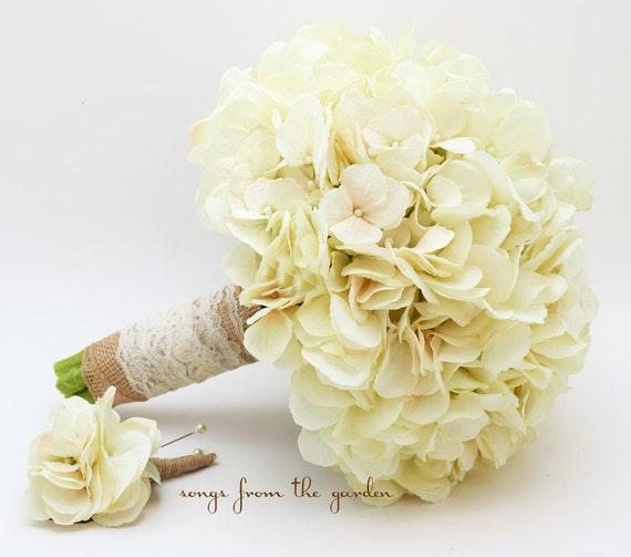 hochzeit bouquet creme seide hortensien sackleinen spitze. Black Bedroom Furniture Sets. Home Design Ideas