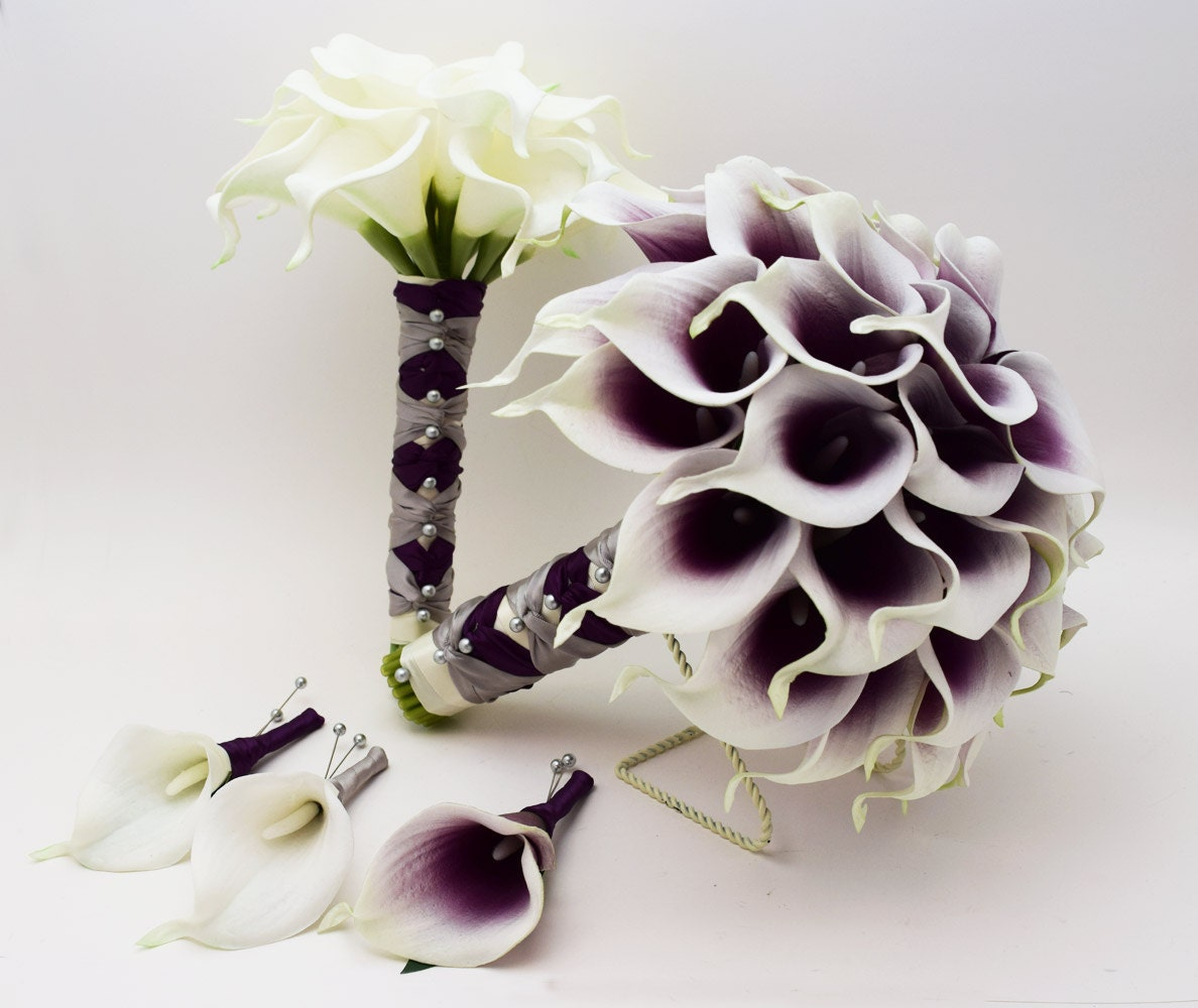 Wedding Flowers By Annette: Reserved Picasso Real Touch Calla Lily Bridal Bouquet