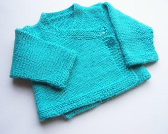 Hand Knitted Baby Kimono Baby Sweater Hand knit Baby Cardigan Jacket  Ready to ship- Nb to 6 Months