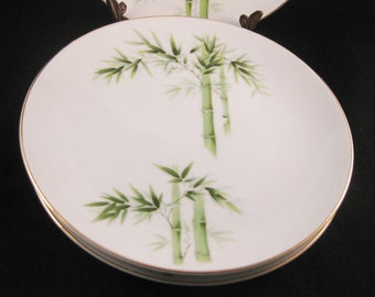 Orient China Bamboo Salad Plates (3) Made In Japan