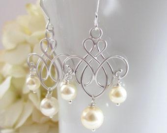 Chandelier Earrings in Silver with Swarovski Pearl Drop, Drop Style Bridal Earrings, Sterling Silver, Silver Bridesmaid Earrings