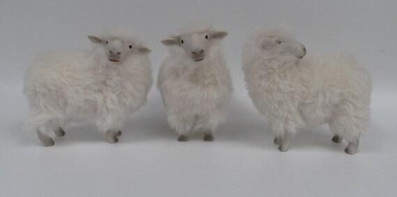 Porcelain Sheep Sculpture with alpaca fur, Swedish Rya Sheep