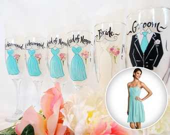 EXACT DRESS REPLICA Hand Painted Personalized Bridal Party Champagne Glasses, Bridesmaid Wine Glasses, Hand Painted Glassware, Bridal Gifts