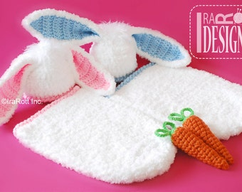 CROCHET PATTERN Bunny Rabbit Baby Hat with Carrot and Cocoon Set PDF Pattern Instant Download