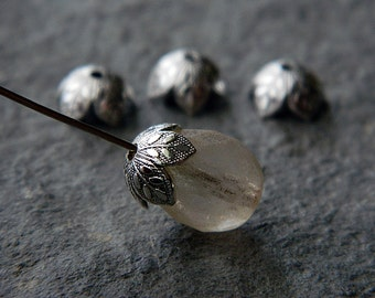 Small brass bead caps, embossed leaf bead caps, bright silver plated brass, 8mm (10pcs)