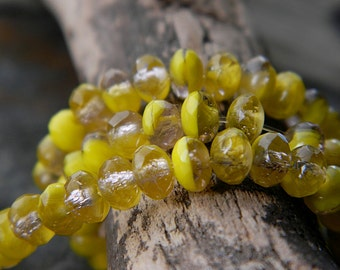 Rondelle glass beads, Czech fire polished donut beads, Glass Spacers, 3X5mm, Marbled Yellow & Clear crystal (40pcs) NEW