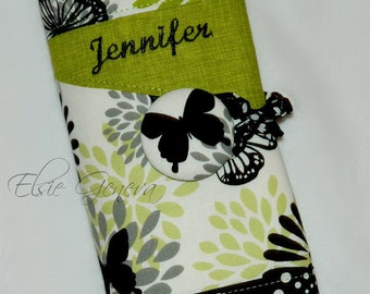 Butterfly Knitting Needle Case  - Interchangeable or Circular Spill Proof - Personalized Black and Chartreuse Green  - Option