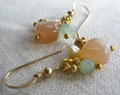 Reserved for Brenda  -  Light peach moonstone and  pale green amazonite beaded earrings on gold plated ear posts