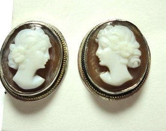 Cameo Earrings Vintage Sterling Carved Shell Cameo Earrings Post Clutch Back Studs