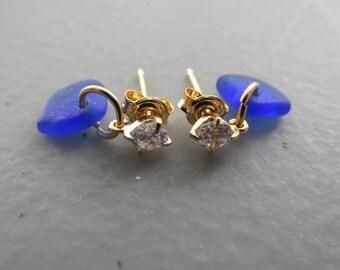 Blue Sea Glass Earrings Jewelry, Seaglass Earrings, Beach Glass Dangle Earrings, Sea Glass Jewelry