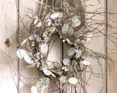 Winter Sky Wreath - Natural - Black White