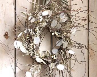 Christmas Wreath - Winter Wreath - Winter Sky Wreath - Natural - Black White - Front Door Wreath