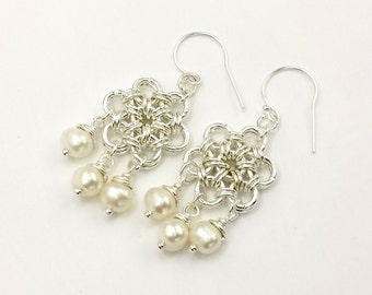 Silver Plated Japanese 12-in-2  Chainmaille Earrings Chandelier Style with Freshwater Pearls