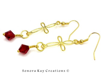 Gold Cross Earrings with Wire Wrapped Red Crystal  Fashion Earrings OOAK