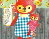 """Baby Illustration, Baby Poster, Baby Print, Fox Illustration Watercolor Painting, 11x8 """"Moomy & Me"""""""
