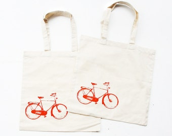 Two Bike Tote Bags - Cotton Tote Bags Set with Eco Friendly Ink  -  Bags and Totes - Bike Print Tote Bag- Housewares - Gift Set
