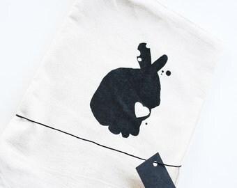 Tea Towel with Bunny Rabbit Print - Housewares - Earth Friendly Flour Sack Tea Towel -  Eco-Friendly - Napkin