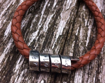 Personalised Mens Bracelet, Leather Braided with Sterling Silver Secret Scroll Message, Gift for Groom, Best Man, Father of Bride, Husband