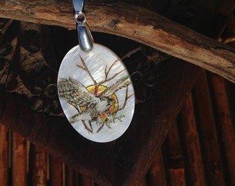 Hawk in Flight Totem Animal Mother of Pearl Amulet by Mickie Mueller