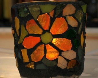 Hand cut flowers , Colorful  Stained Glass Mosaic container