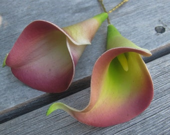 Dusty Plum and Green Calla Lilies flowers SET OF 2 bobby pins -hair clips - Weddings