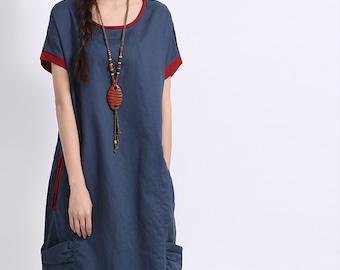 Loose fitting Short Sleeve Sundress Maxi Dresss in Blue- K1153
