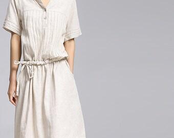 Maxi Dress Loose Fitting Sundress Short Sleeve Summer Dress in Beige - K847