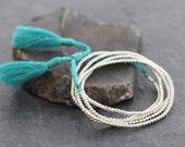 Simple Long Blue Tassel Silver Necklace Wrap Bracelet