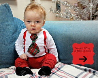 Baby Boy Christmas Outfit for Newborn, Toddler or Infant Christmas Tie and Suspenders Bodysuit. Long or short sleeve