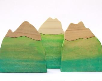wooden mountain toy, wood toys, waldorf nature table, organic home decor, waldorf toys