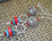Sterling Silver, Turquoise, and Coral Bohemian Earrings