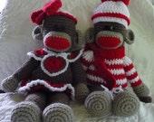 """Boy and Girl Sock Monkeys 17"""""""