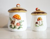 Two Vintage ceramic mushroom jars (medium)