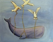 Whale and Friends - Acrylic and Ink on Canvas - Sperm whale and seagulls