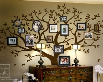Family Tree Wall decal, Tree Wall Decal, Photo Frame Tree Wall Decal Sticker, Large Family Tree Wall Decal Sticker, Living Room Frames Tree