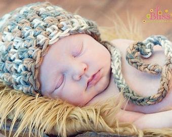 Newborn  Elf Hat With A Cute Little Heart Tail - Cream, Light Grey, Dark Grey, Tan, Brown - Great Photo Prop