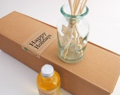 Amber Diffuser Oil Refill, Recycle and Handmade Vase Options Floral Fragrance for Home with Natural Undyed Reeds