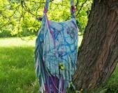 Splatter Dyed Fringe Bag w/ Feathers