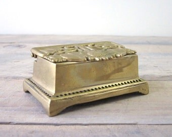 Vintage Brass Stamp Box with Flower Design