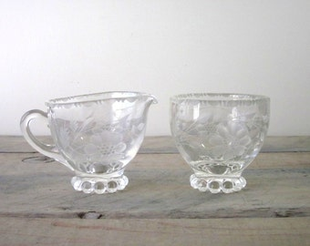 Vintage Etched Crystal Glass Creamer and Sugar Bowl