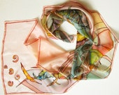 Natural silk scarf hand painted by free hand - dyed on ponge silk - multicolor print - 45x180