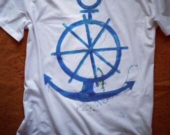 The Anchor Tshirt-  Handmade Organic