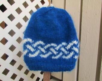 Blue Angora Hat with White Celtic Braid