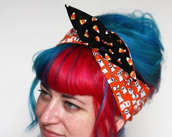 Halloween Reversible Wired Bow Headband, Cute Ghosts and Candy Corn